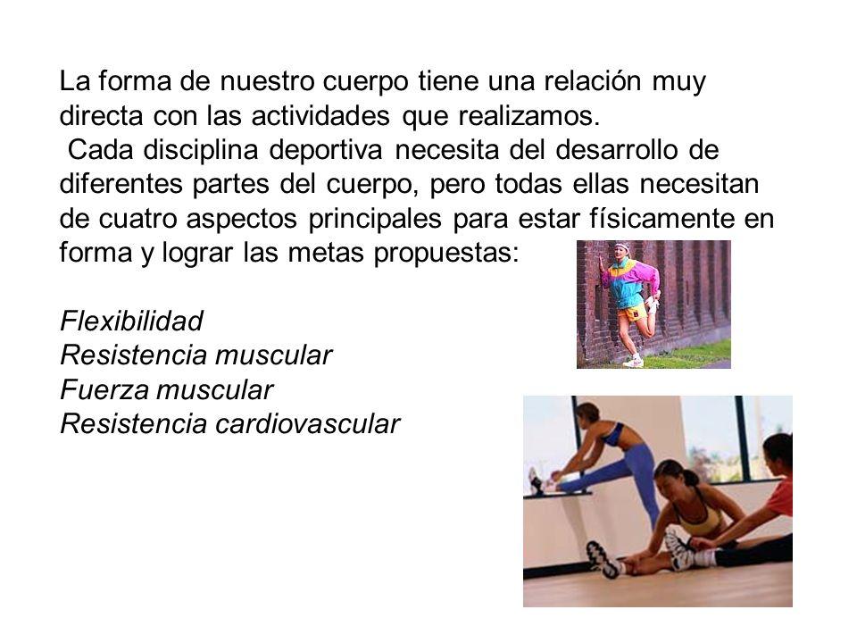 La forma de nuestro cuerpo tiene una relación muy directa con las actividades que realizamos. Cada disciplina deportiva necesita del desarrollo de dif