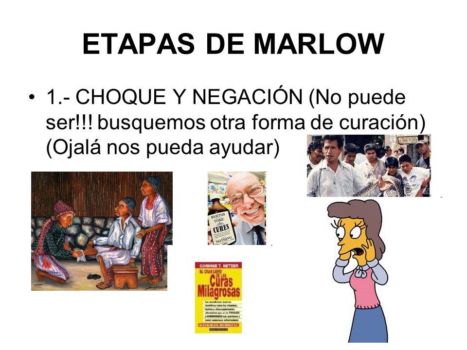 ETAPAS DE MARLOW 1.- CHOQUE Y NEGACIÓN (No puede ser!!! busquemos otra forma de curación) (Ojalá nos pueda ayudar)