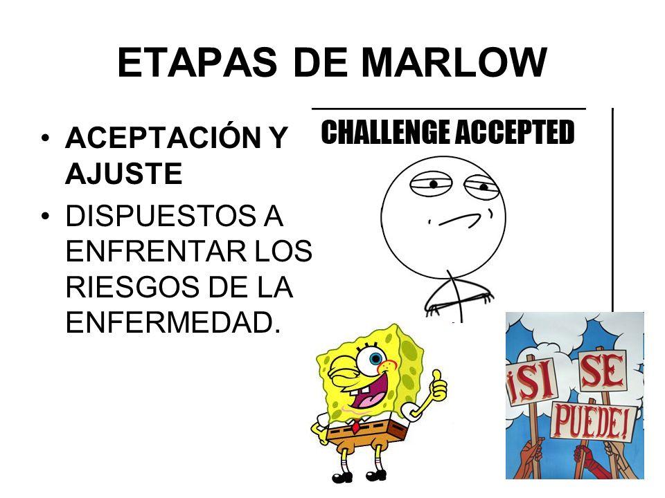 ACEPTACIÓN Y AJUSTE DISPUESTOS A ENFRENTAR LOS RIESGOS DE LA ENFERMEDAD. ETAPAS DE MARLOW