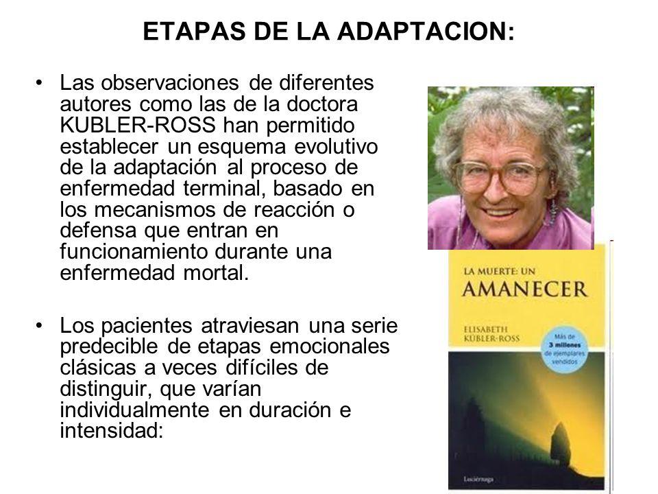 ETAPAS DE LA ADAPTACION: Las observaciones de diferentes autores como las de la doctora KUBLER-ROSS han permitido establecer un esquema evolutivo de l