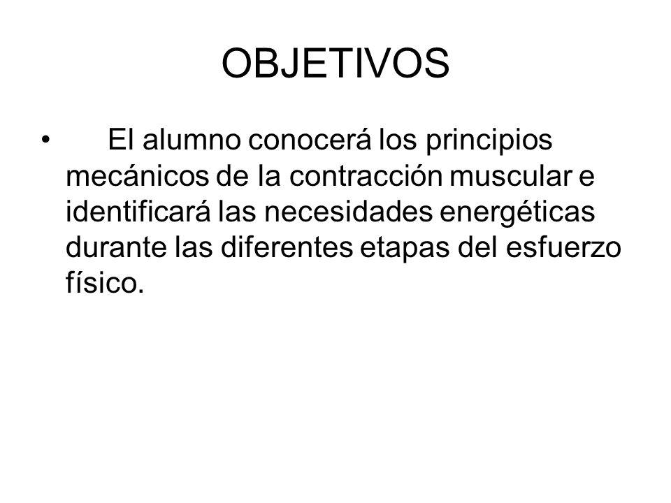 OBJETIVOS El alumno conocerá los principios mecánicos de la contracción muscular e identificará las necesidades energéticas durante las diferentes eta