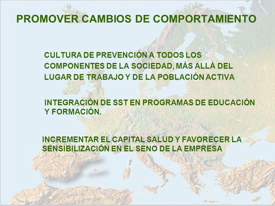 PROMOVER CAMBIOS DE COMPORTAMIENTO CULTURA DE PREVENCIÓN A TODOS LOS COMPONENTES DE LA SOCIEDAD, MÁS ALLÁ DEL LUGAR DE TRABAJO Y DE LA POBLACIÓN ACTIV