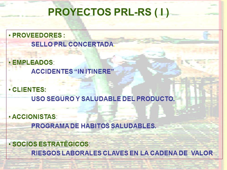 PROYECTOS PRL-RS ( I ) PROVEEDORES : SELLO PRL CONCERTADA. EMPLEADOS: ACCIDENTES IN ITINERE CLIENTES: USO SEGURO Y SALUDABLE DEL PRODUCTO. ACCIONISTAS