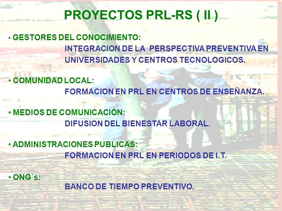 PROYECTOS PRL-RS ( II ) GESTORES DEL CONOCIMIENTO: INTEGRACION DE LA PERSPECTIVA PREVENTIVA EN UNIVERSIDADES Y CENTROS TECNOLOGICOS. COMUNIDAD LOCAL: