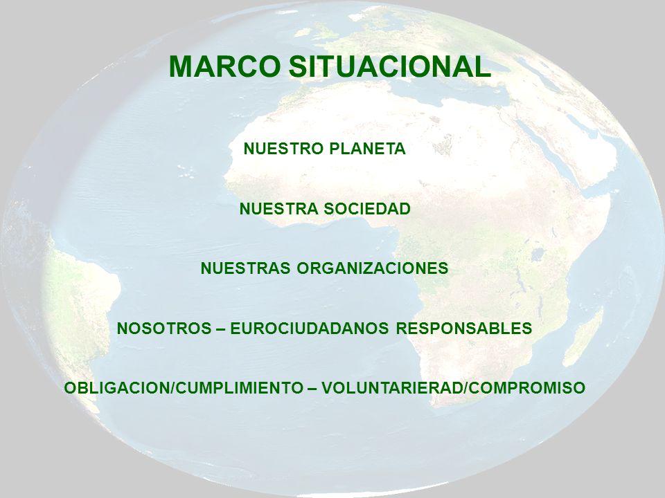 NUESTRO PLANETA NUESTRA SOCIEDAD NUESTRAS ORGANIZACIONES NOSOTROS – EUROCIUDADANOS RESPONSABLES OBLIGACION/CUMPLIMIENTO – VOLUNTARIERAD/COMPROMISO MAR
