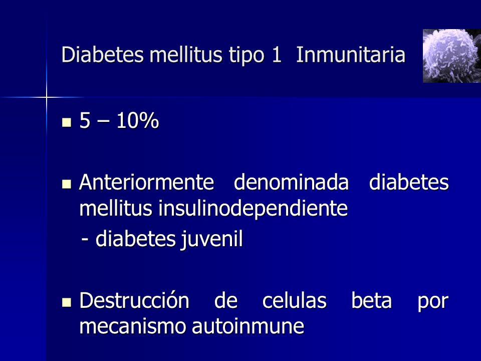 Diabetes mellitus tipo 1 Inmunitaria 5 – 10% 5 – 10% Anteriormente denominada diabetes mellitus insulinodependiente Anteriormente denominada diabetes