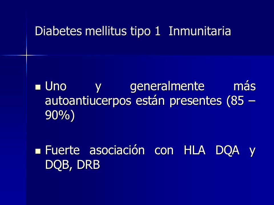 Diabetes mellitus tipo 1 Inmunitaria Uno y generalmente más autoantiucerpos están presentes (85 – 90%) Uno y generalmente más autoantiucerpos están pr