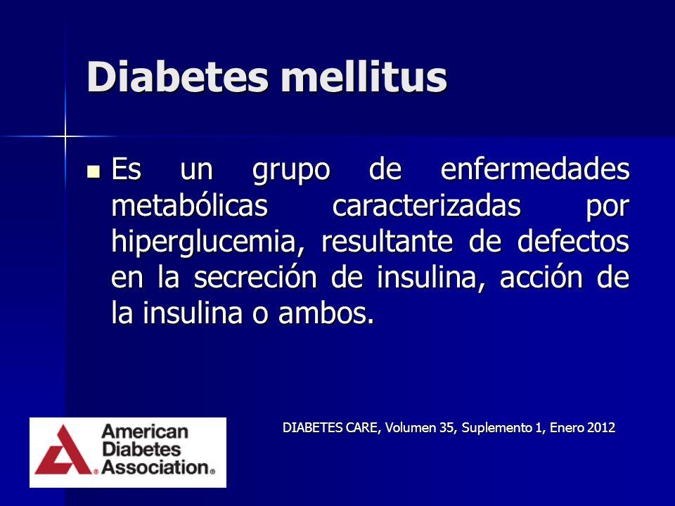 Diabetes mellitus Es un grupo de enfermedades metabólicas caracterizadas por hiperglucemia, resultante de defectos en la secreción de insulina, acción