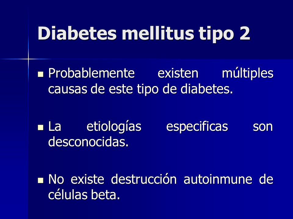 Diabetes mellitus tipo 2 Probablemente existen múltiples causas de este tipo de diabetes. Probablemente existen múltiples causas de este tipo de diabe
