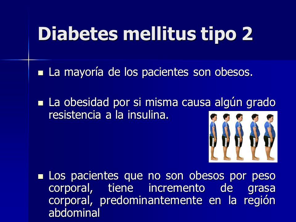 Diabetes mellitus tipo 2 La mayoría de los pacientes son obesos. La mayoría de los pacientes son obesos. La obesidad por si misma causa algún grado re