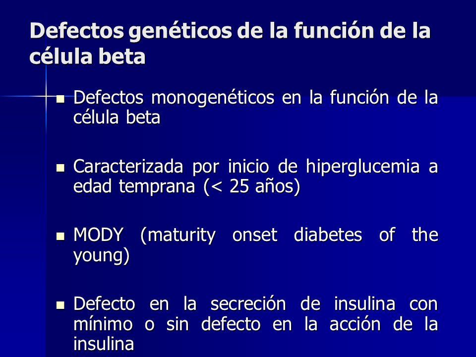 Defectos genéticos de la función de la célula beta Defectos genéticos de la función de la célula beta Defectos monogenéticos en la función de la célul