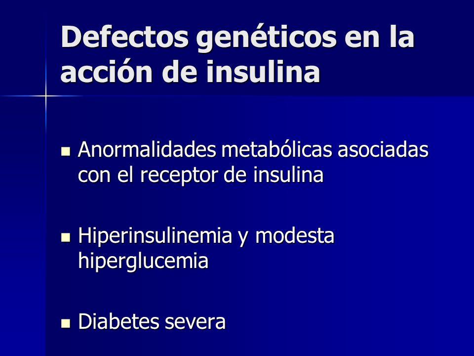 Defectos genéticos en la acción de insulina Anormalidades metabólicas asociadas con el receptor de insulina Anormalidades metabólicas asociadas con el