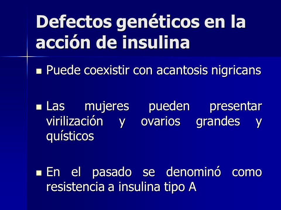 Defectos genéticos en la acción de insulina Puede coexistir con acantosis nigricans Puede coexistir con acantosis nigricans Las mujeres pueden present