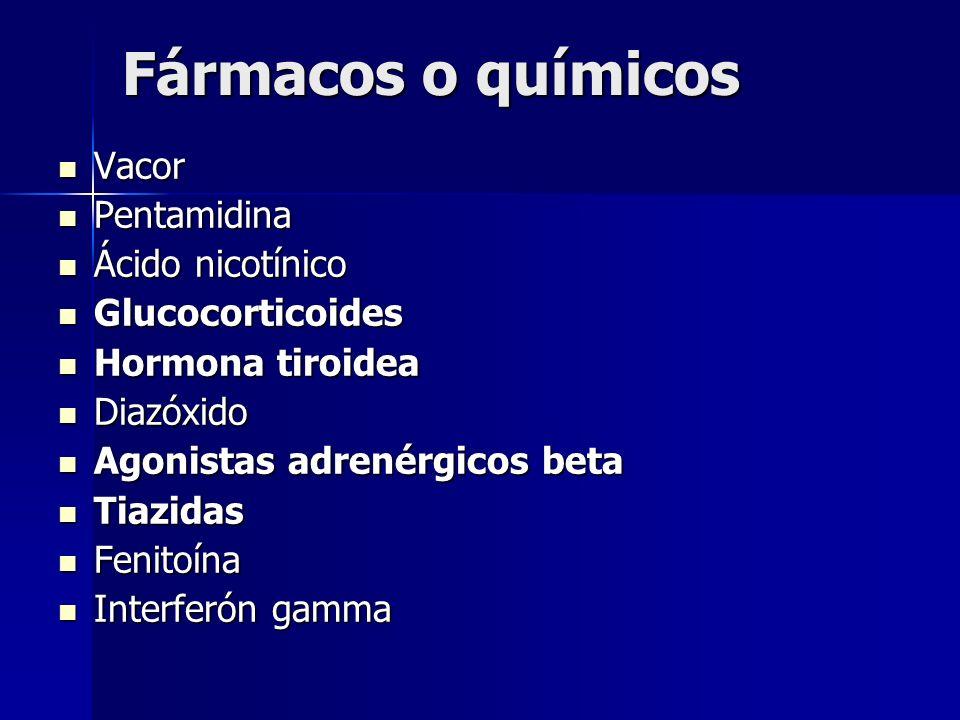 Fármacos o químicos Vacor Vacor Pentamidina Pentamidina Ácido nicotínico Ácido nicotínico Glucocorticoides Glucocorticoides Hormona tiroidea Hormona t