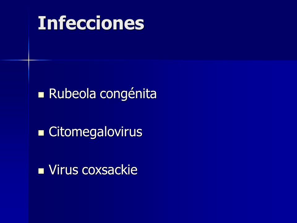 Infecciones Rubeola congénita Rubeola congénita Citomegalovirus Citomegalovirus Virus coxsackie Virus coxsackie