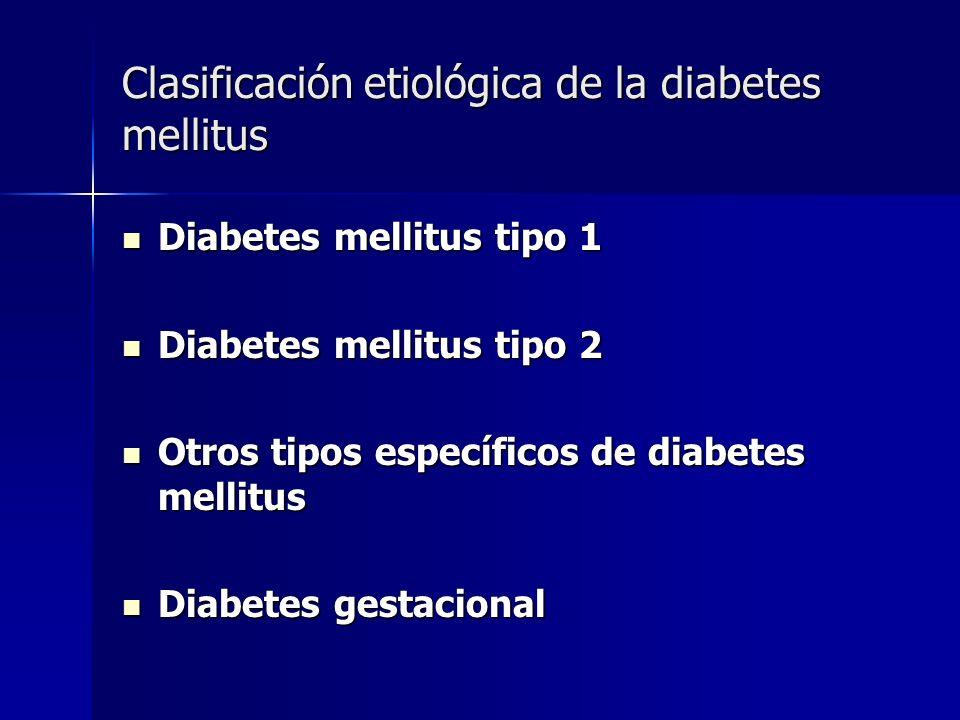 Clasificación etiológica de la diabetes mellitus Diabetes mellitus tipo 1 Diabetes mellitus tipo 1 Diabetes mellitus tipo 2 Diabetes mellitus tipo 2 O