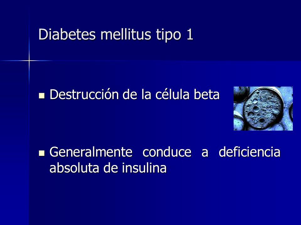 Diabetes mellitus tipo 1 Destrucción de la célula beta Destrucción de la célula beta Generalmente conduce a deficiencia absoluta de insulina Generalme
