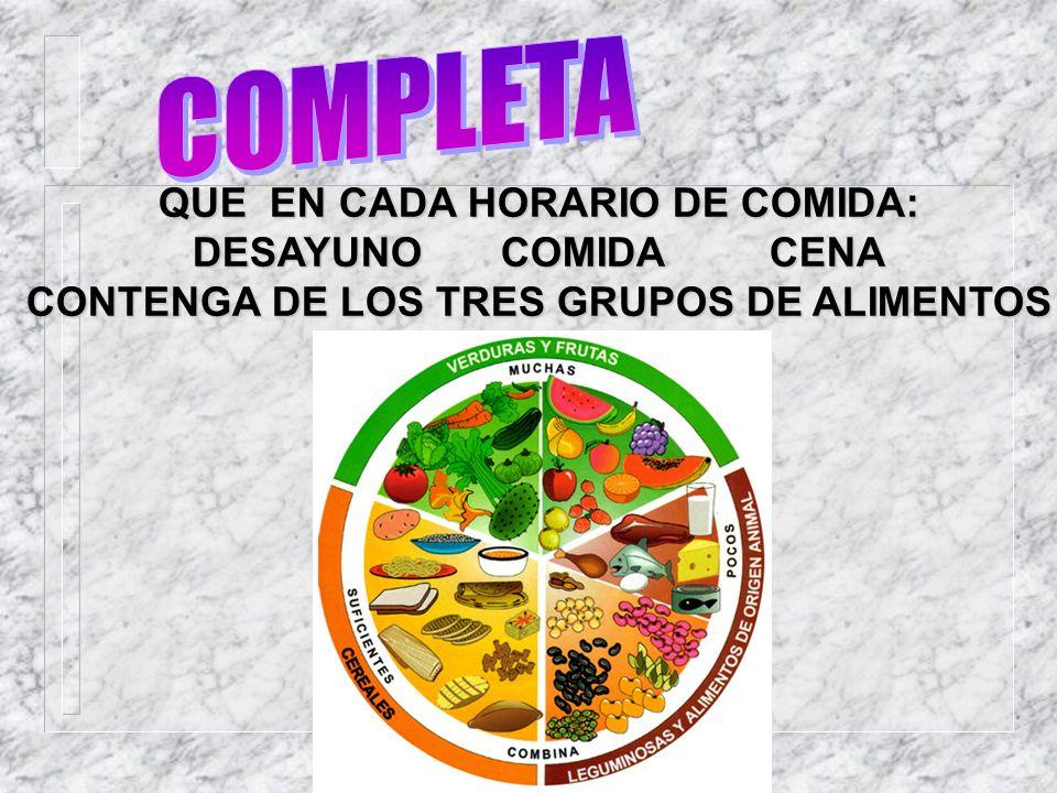QUE EN CADA HORARIO DE COMIDA: DESAYUNO COMIDA CENA CONTENGA DE LOS TRES GRUPOS DE ALIMENTOS