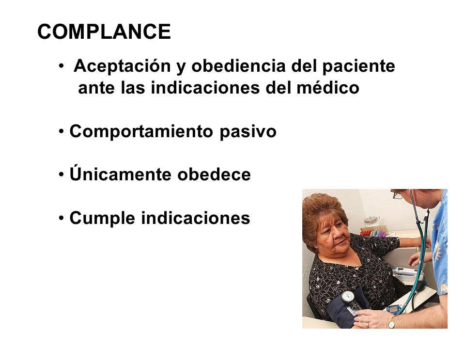 COMPLANCE Aceptación y obediencia del paciente ante las indicaciones del médico Comportamiento pasivo Únicamente obedece Cumple indicaciones