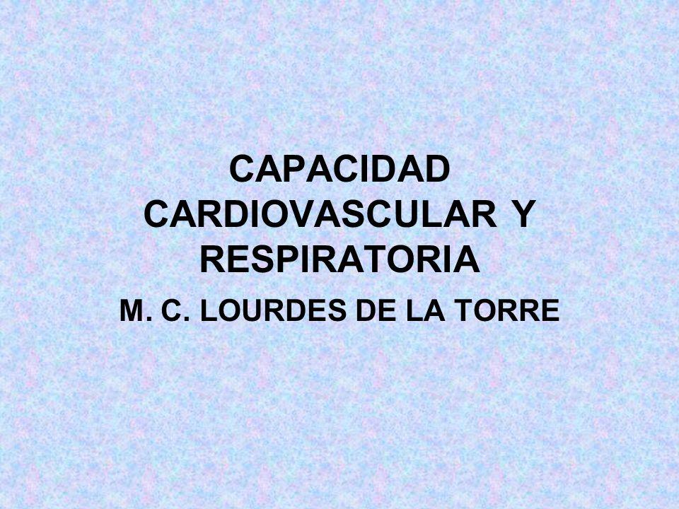 CAPACIDAD CARDIOVASCULAR Y RESPIRATORIA M. C. LOURDES DE LA TORRE