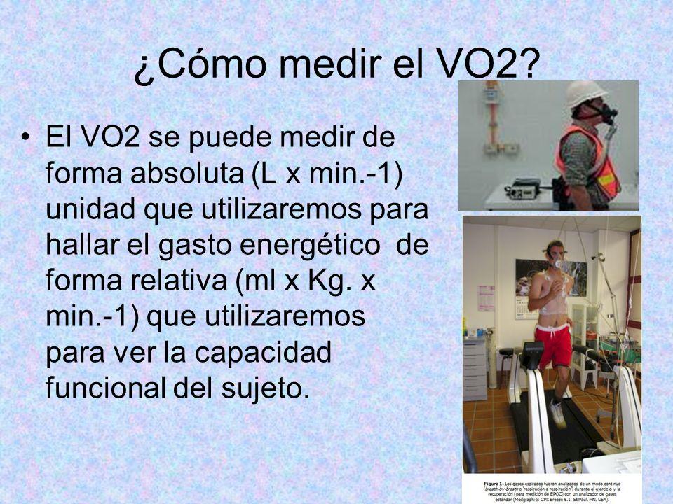 ¿Cómo medir el VO2? El VO2 se puede medir de forma absoluta (L x min.-1) unidad que utilizaremos para hallar el gasto energético de forma relativa (ml