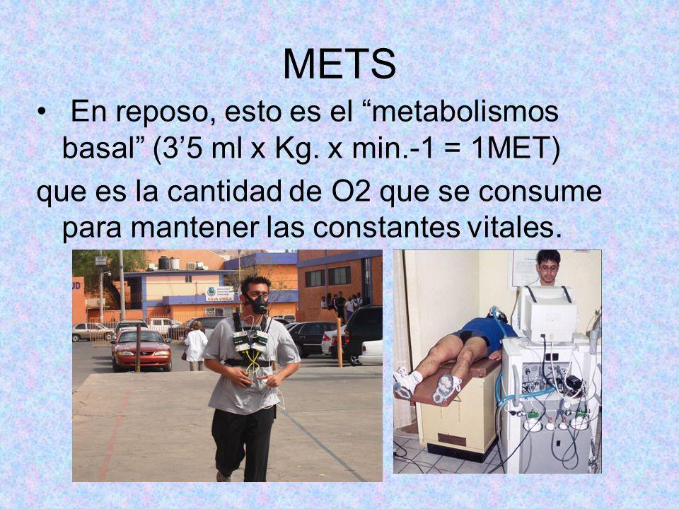 METS En reposo, esto es el metabolismos basal (35 ml x Kg. x min.-1 = 1MET) que es la cantidad de O2 que se consume para mantener las constantes vital