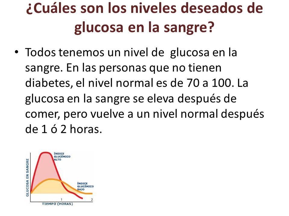 ¿Cuáles son los niveles deseados de glucosa en la sangre.