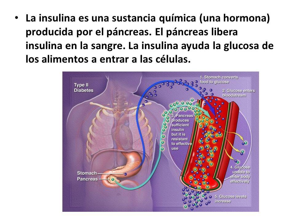 La insulina es una sustancia química (una hormona) producida por el páncreas.