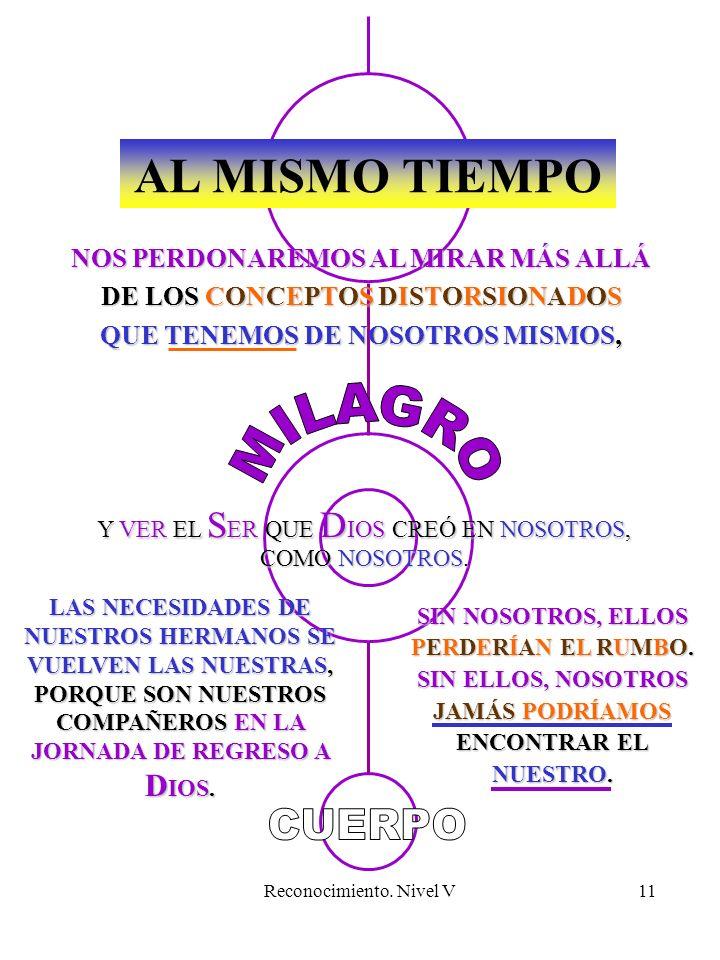 Reconocimiento. Nivel V11 AL MISMO TIEMPO LAS NECESIDADES DE NUESTROS HERMANOS SE VUELVEN LAS NUESTRAS, PORQUE SON NUESTROS COMPAÑEROS EN LA JORNADA D