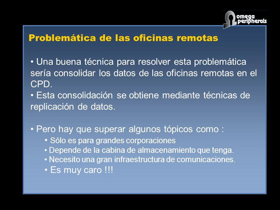 Problemática de las oficinas remotas Una buena técnica para resolver esta problemática sería consolidar los datos de las oficinas remotas en el CPD.
