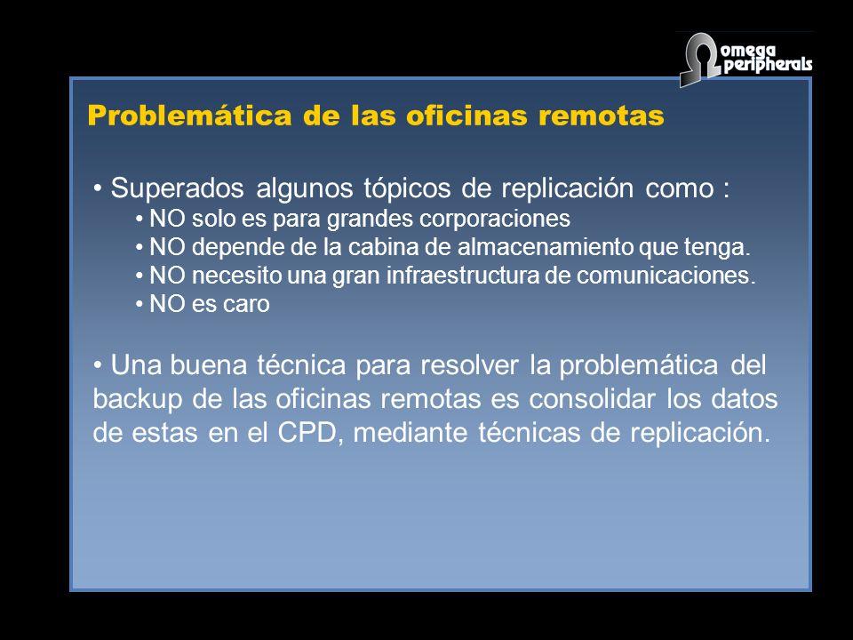 Problemática de las oficinas remotas Superados algunos tópicos de replicación como : NO solo es para grandes corporaciones NO depende de la cabina de almacenamiento que tenga.
