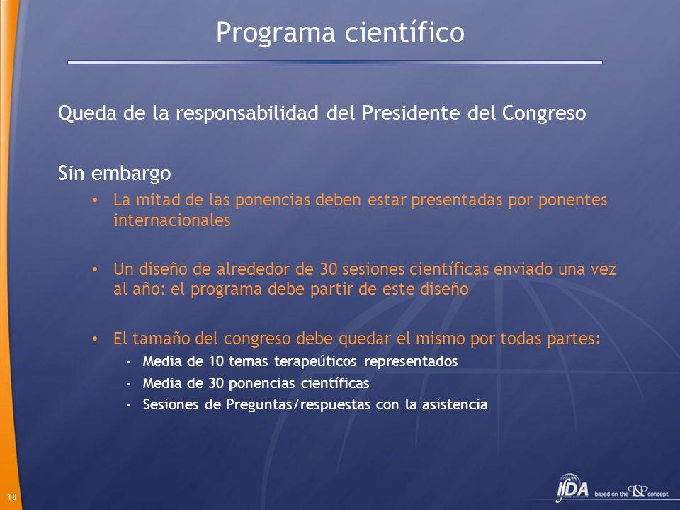 10 Programa científico Queda de la responsabilidad del Presidente del Congreso Sin embargo La mitad de las ponencias deben estar presentadas por ponen