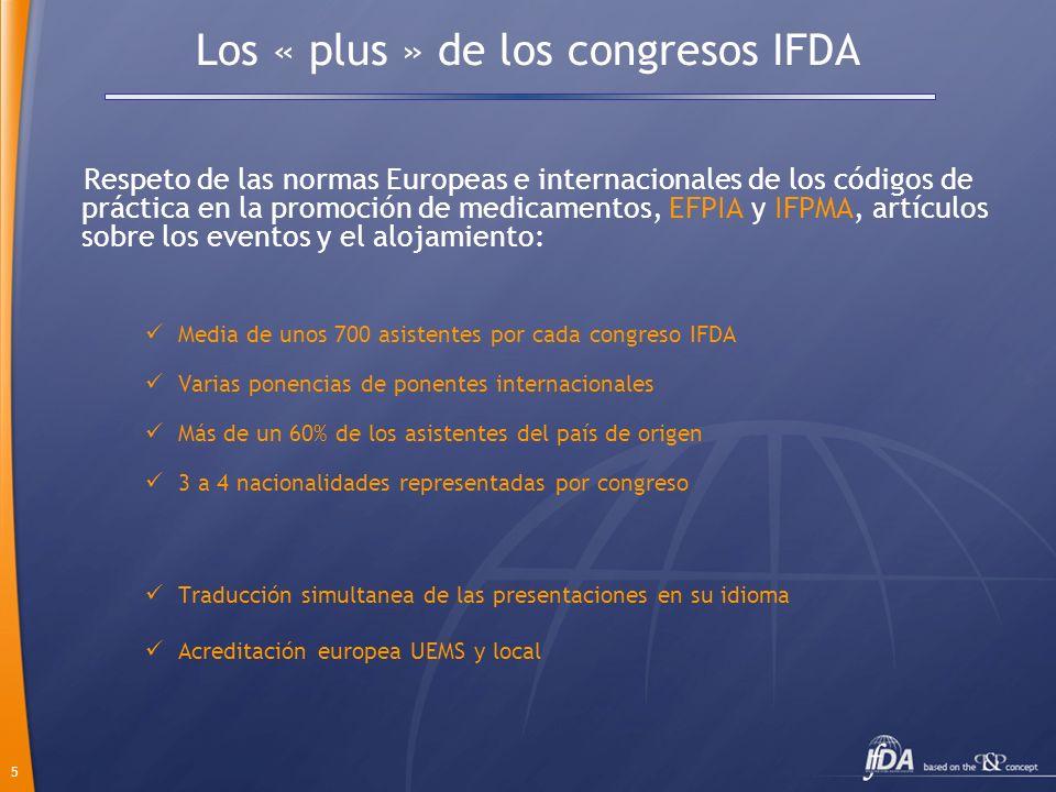 5 Los « plus » de los congresos IFDA Respeto de las normas Europeas e internacionales de los códigos de práctica en la promoción de medicamentos, EFPI