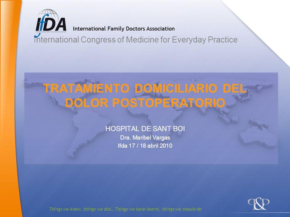 12 Modelo del protocolo de tratamiento domiciliario en el dolor postoperatorio del hospital de Sant Boi.