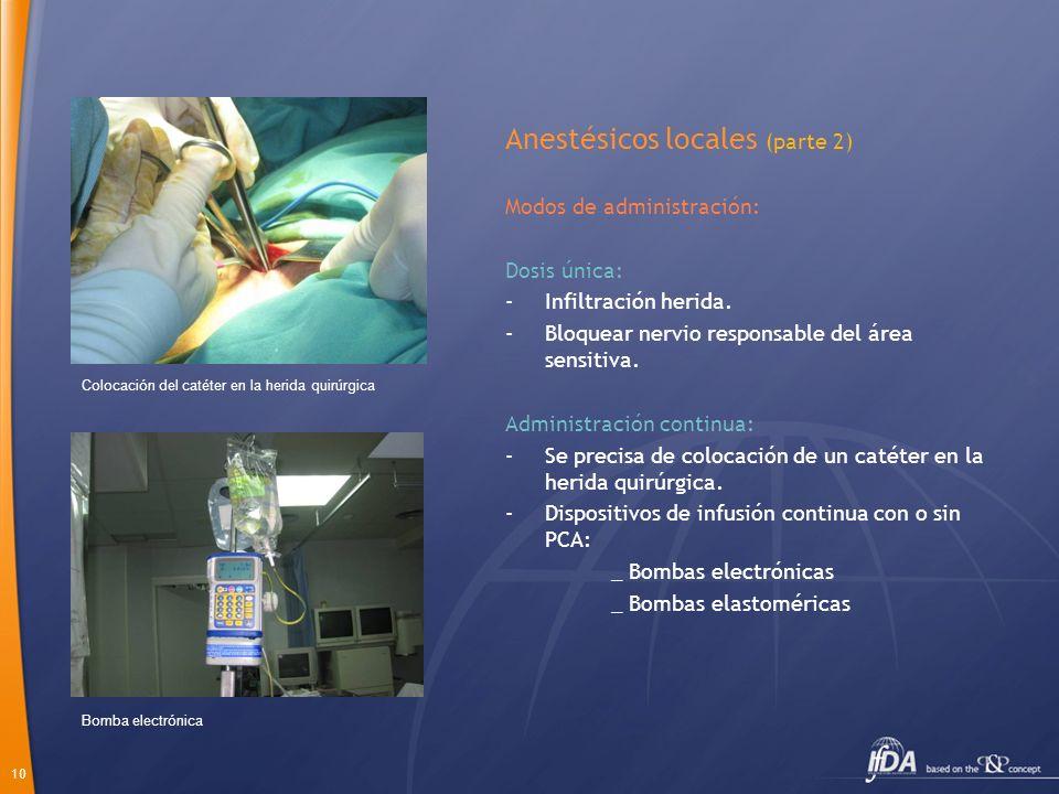 10 Anestésicos locales (parte 2) Modos de administración: Dosis única: -Infiltración herida. -Bloquear nervio responsable del área sensitiva. Administ