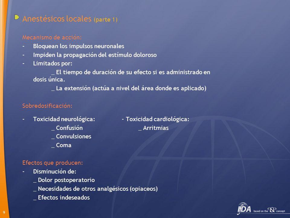 10 Anestésicos locales (parte 2) Modos de administración: Dosis única: -Infiltración herida.