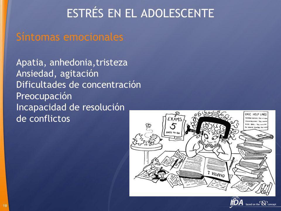 10 ESTRÉS EN EL ADOLESCENTE Síntomas emocionales Apatia, anhedonia,tristeza Ansiedad, agitación Dificultades de concentración Preocupación Incapacidad
