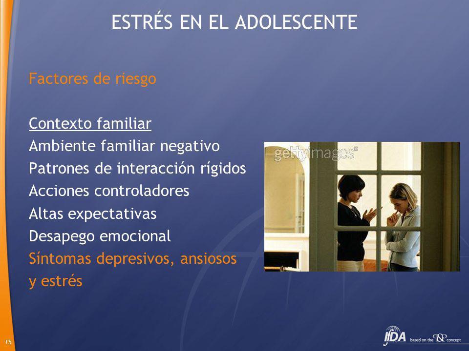 15 ESTRÉS EN EL ADOLESCENTE Factores de riesgo Contexto familiar Ambiente familiar negativo Patrones de interacción rígidos Acciones controladores Alt