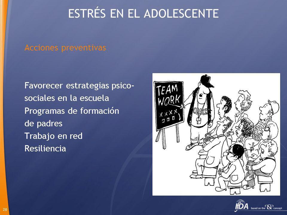 20 ESTRÉS EN EL ADOLESCENTE Acciones preventivas Favorecer estrategias psico- sociales en la escuela Programas de formación de padres Trabajo en red R