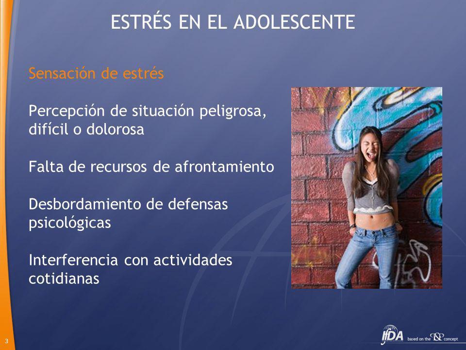 4 ESTRÉS EN EL ADOLESCENTE Adolescencia = Cambio Mismo nivel de estabilidad en los adultos 80% no es rebelde ni emocionalmente inestable 20% puede necesitar atención profesional