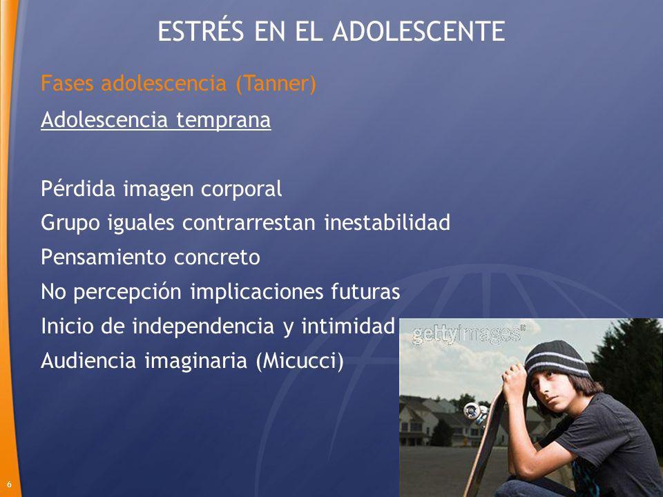 6 Adolescencia temprana Pérdida imagen corporal Grupo iguales contrarrestan inestabilidad Pensamiento concreto No percepción implicaciones futuras Ini