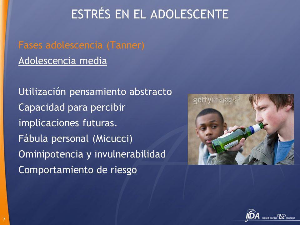 7 Adolescencia media Utilización pensamiento abstracto Capacidad para percibir implicaciones futuras. Fábula personal (Micucci) Ominipotencia y invuln