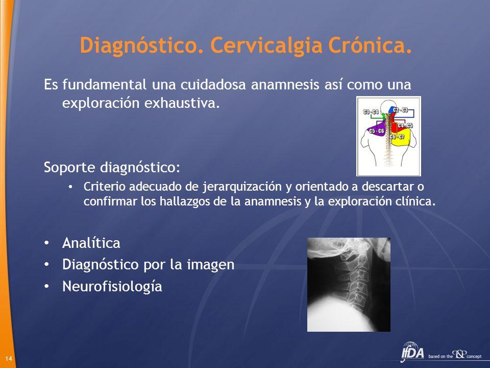 14 Diagnóstico. Cervicalgia Crónica. Es fundamental una cuidadosa anamnesis así como una exploración exhaustiva. Soporte diagnóstico: Criterio adecuad