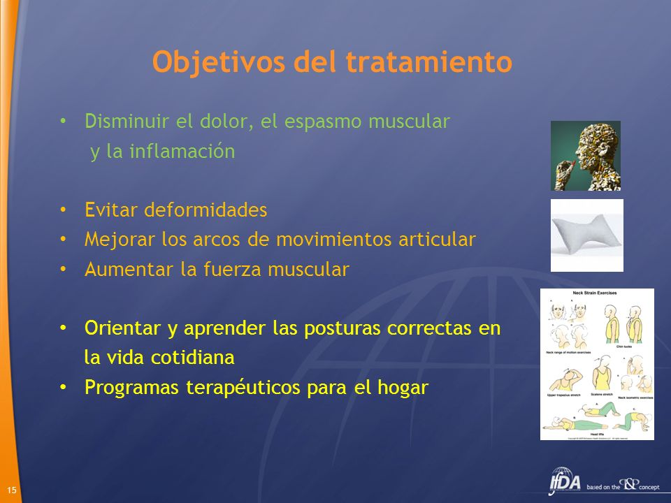 15 Objetivos del tratamiento Disminuir el dolor, el espasmo muscular y la inflamación Evitar deformidades Mejorar los arcos de movimientos articular A