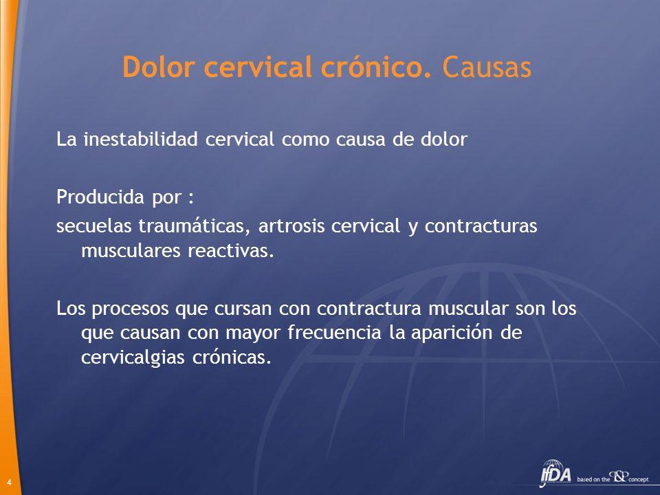 4 Dolor cervical crónico. Causas La inestabilidad cervical como causa de dolor Producida por : secuelas traumáticas, artrosis cervical y contracturas