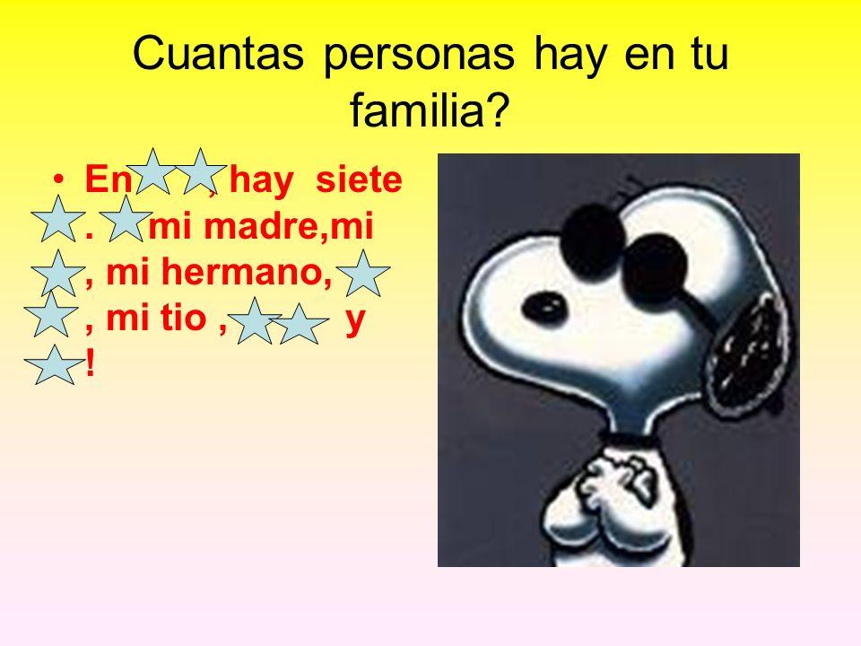 Cuantas personas hay en tu familia? En, hay siete. mi madre,mi, mi hermano,, mi tio,, y !