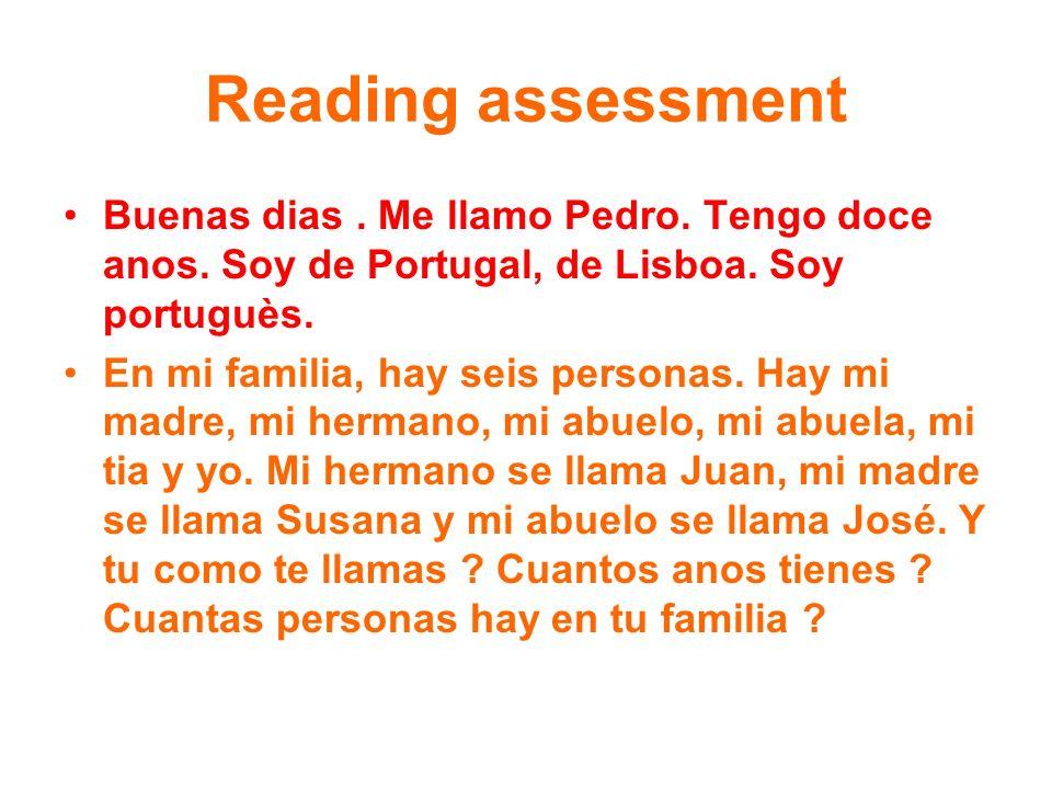 Reading assessment Buenas dias. Me llamo Pedro. Tengo doce anos. Soy de Portugal, de Lisboa. Soy portuguès. En mi familia, hay seis personas. Hay mi m