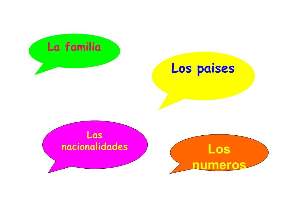 La familia Los paises Las nacionalidades Los numeros