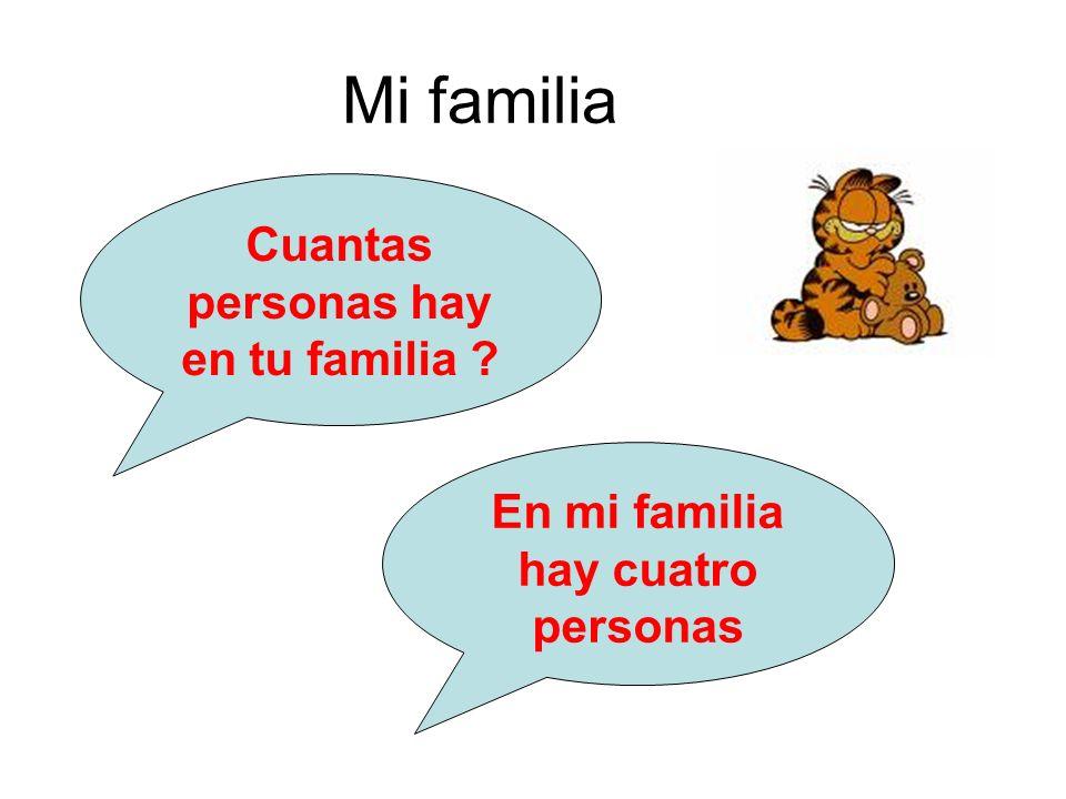Mi familia Cuantas personas hay en tu familia ? En mi familia hay cuatro personas
