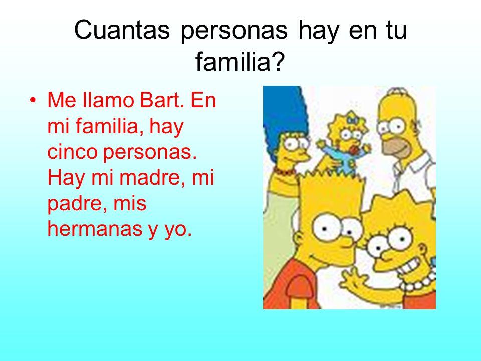 Cuantas personas hay en tu familia? Me llamo Bart. En mi familia, hay cinco personas. Hay mi madre, mi padre, mis hermanas y yo.